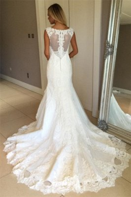 Elegant Sexy Mermaid Sleeveless Wedding Dress Lace Appliques Bridal Gowns_4