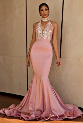 Pink Mermaid Prom Dress UK   V-Neck Lace Evening Gowns BA8862_1