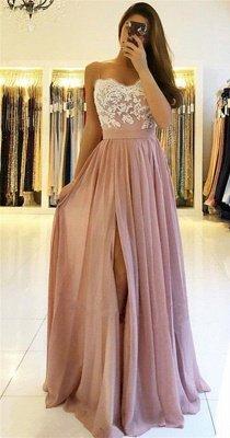 Sexy Lace Spaghetti Straps Prom Dress UK | Long Chiffon Evening Dress UK With Slit BA9633_4
