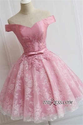 A-line Bowknot Off-the-Shoulder Pink Sexy Appliques Homecoming Dress UK_2