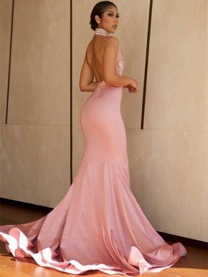 Pink Mermaid Prom Dress UK   V-Neck Lace Evening Gowns BA8862_4