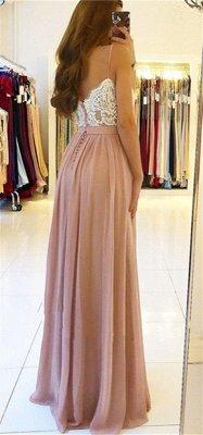 Sexy Lace Spaghetti Straps Prom Dress UK | Long Chiffon Evening Dress UK With Slit BA9633_5