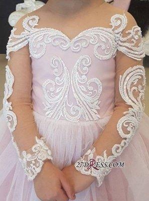 Long-Sleeve Lace Gown Romantic Ball Flower Girls Dresses BA7399_3