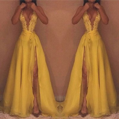 Yellow V-Neck Sleeveless Evening Dress UK   Lace Prom Dress UK With Split_3