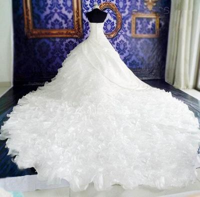Gorgeous Ruffles Lace High Neck Wedding Dress Court Train Zipper_3
