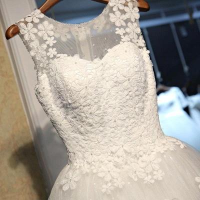 Stunning Sleeveless Scoop Neckline Wedding Dress tulle Lace Appliques_4