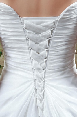 Newest Strapless White Beadss Wedding Dress A-line Sweep Train_4