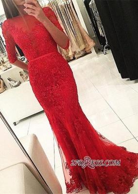 Tulle Red Mermaid Half-Sleeves Newest Beadings Appliques Prom Dress UK_2