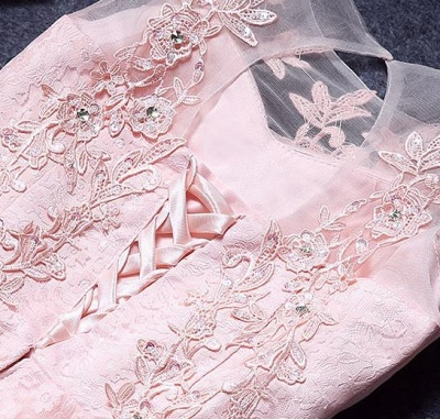 A-Line Lace Pink Sleeveless Appliques Homecoming Dress UK_2