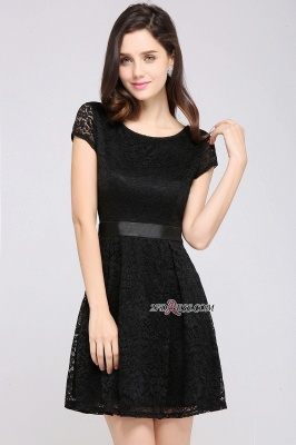 Cap-Sleeves Short Sash Simple Jewel Black Lace Homecoming Dress UK_1