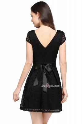 Cap-Sleeves Short Sash Simple Jewel Black Lace Homecoming Dress UK_3