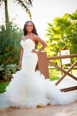 Stunning Sweetheart Wedding Dress For Brides Sexy Mermaid Tulle_1