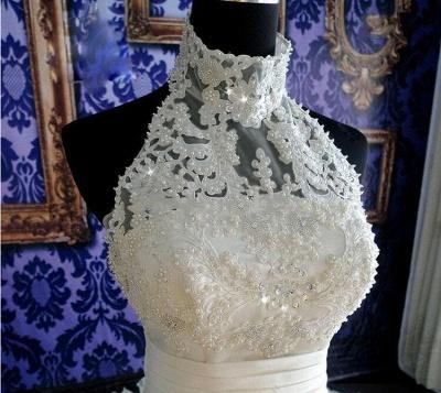 Gorgeous Ruffles Lace High Neck Wedding Dress Court Train Zipper_2