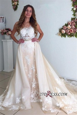 Sexy Mermaid Gorgeous Detachable-Cathedral-Train Tulle Lace Wedding Dresses UK_5