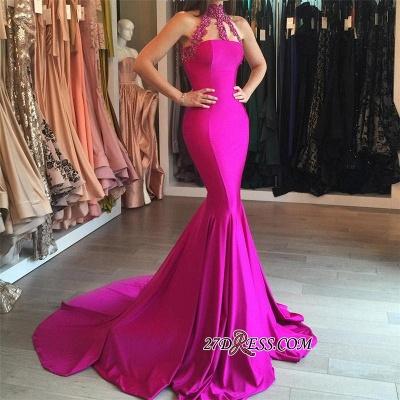 Sweep-Train Sleeveless Modest High-Neck Mermaid Lace-appliques Prom Dress UK_1