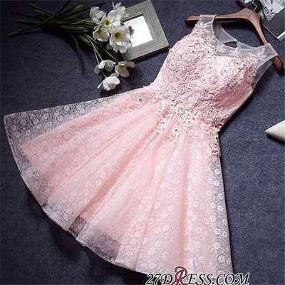 A-Line Lace Pink Sleeveless Appliques Homecoming Dress UK_3