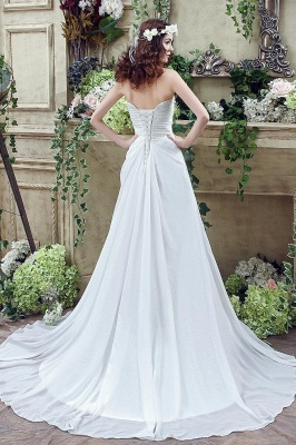 Newest Strapless White Beadss Wedding Dress A-line Sweep Train_5
