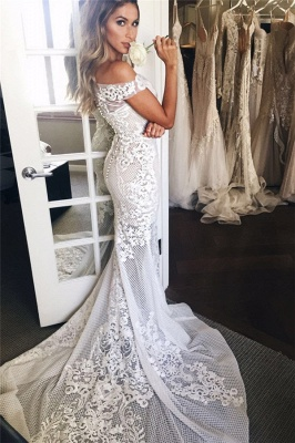 Off The Shoulder Sheer Tulle Cheap Bride Dress Lace Appliques  Sexy Mermaid Buttons Wedding Dress_1