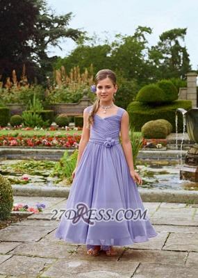 Lovely Sleeveless Chiffon Floor-length Girl Pageant Dress With Flower_1