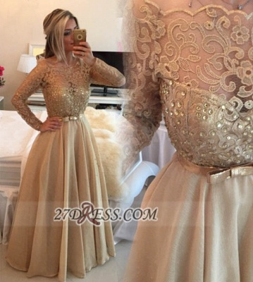 Luxurious Long Sleeve Beadings Evening Dress UK With Lace Appliques And Bowknot_1