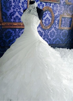 Gorgeous Ruffles Lace High Neck Wedding Dress Court Train Zipper_1