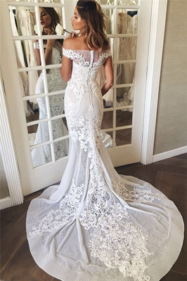 Off The Shoulder Sheer Tulle Cheap Bride Dress Lace Appliques  Sexy Mermaid Buttons Wedding Dress_4