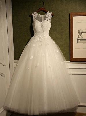 Stunning Sleeveless Scoop Neckline Wedding Dress tulle Lace Appliques_2