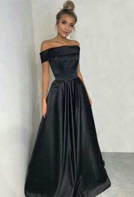 Elegant Black Off-the-Shoulder Long Prom Dress UK Online_3