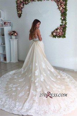 Sexy Mermaid Gorgeous Detachable-Cathedral-Train Tulle Lace Wedding Dresses UK_4