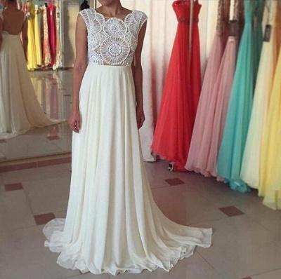 Newest Pearls Chiffon A-line Prom Dress UK Cap Sleeve Sweep Train_3