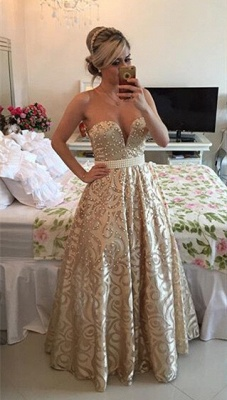 Modern V-neck Sleeveless Pearls Prom Dress UK Open Back Floor-length BT0_1