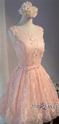 Mini Sleeveless Scoop Bows With Homecoming Dress UKes UK Applique Sashes Short A-Line Cocktail Dress UKes UK_4
