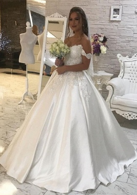 Elegant Off-the-Shoulder Lace Wedding Dress Ball Gown Princess Bridal Wear_1