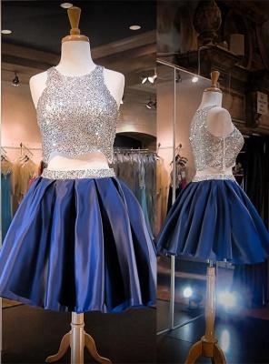 Luxury Two Piece Mini Homecoming Dress UK Sequined Jewel Sleeveless_1