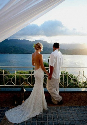 Hot Summer Spaghetti Straps Wedding Dress Sexy Mermaid Lace_1