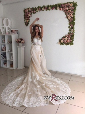 Sexy Mermaid Gorgeous Detachable-Cathedral-Train Tulle Lace Wedding Dresses UK_2