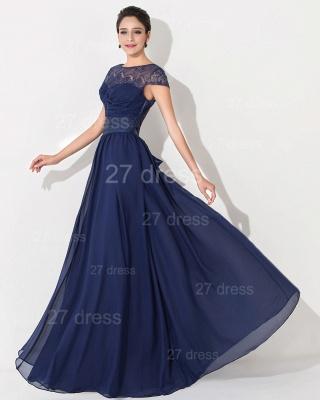 Newest Illusion Cap Sleeve Evening Dress UK A-line Bowknot_3