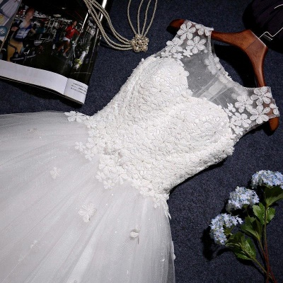 Stunning Sleeveless Scoop Neckline Wedding Dress tulle Lace Appliques_6