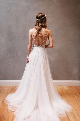 Modern Sweetheart Sleeveless Wedding Dress Tulle lace Beads WE0164_3