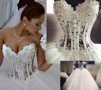 Elegant Sweetheart Sleeveless Tulle Wedding Dress With Appliques Beadss_2