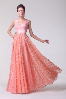 V-neck Appliques Luxury Prom Dress UK Beadings Tulle_6