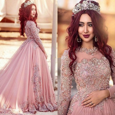 Luxury Long-Sleeve Arabic Style Lace Appliques Tulle Evening Dress UK_3