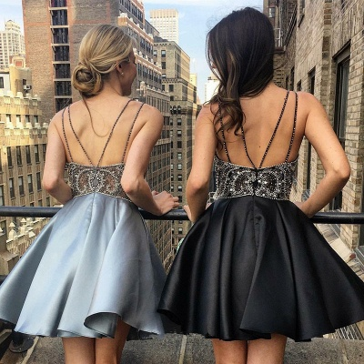Luxury V-Neck Spaghetti-Straps Homecoming Dress UK | Beadings Mini Short Prom Dress UK_3