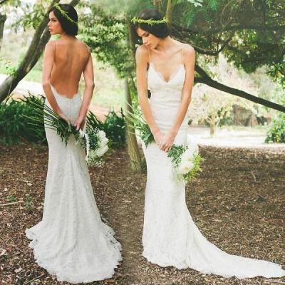 Hot Summer Spaghetti Straps Wedding Dress Sexy Mermaid Lace_4