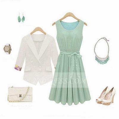 Cocktail Short Green Homecoming Dress UKes UK with Light Jewel Sleeveless Chiffon Ruffles Bow Sash Simple Gowns_3