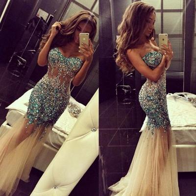 Luxurious Crystals Tulle Mermaid Prom Dress UK Sweep Train_3