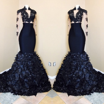 Long sleeve mermaid prom Dress UK, lace evening gowns RM0_3
