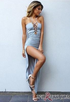Bodycon Spaghetti-Strap Elegant Front-Split Sleeveless Prom Dress UK_2