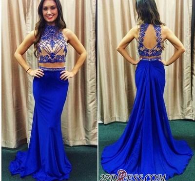 Lace Mermaid Zipper High-Neck Two-piece Newest Prom Dress UK_1