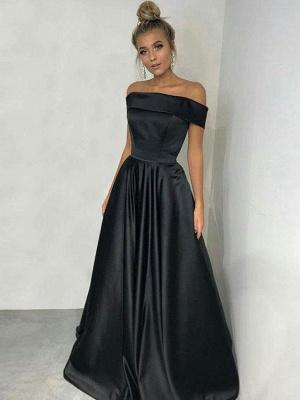 Elegant Black Off-the-Shoulder Long Prom Dress UK Online_1
